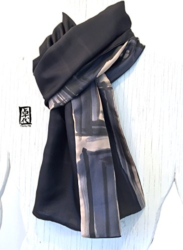 Mens Silk Scarf, Green and Black Hand Painted Large Reversible Scarf, Zen Geometric, by Silk Scarves Takuyo