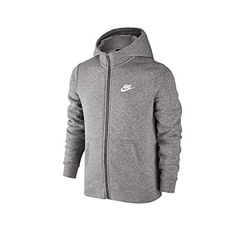 (NIKE Boy's Performance Full Zip Training Hoodie Zip Up Hooded Sweatshirts (Gray, Medium))