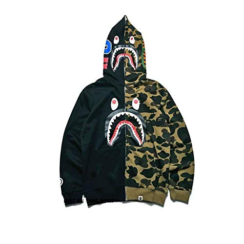 New Bathing ape Jacket Shark Head Camo Full Zip Hoodie Long Sleeve Clothes (Black & Green, S)