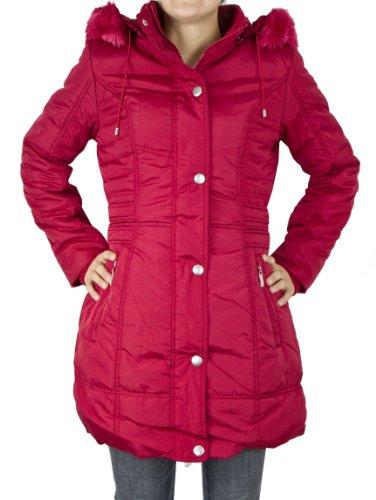 Rouge avec confortable en doublure Manteau polaire Hiver capuche Femme qvwRgA
