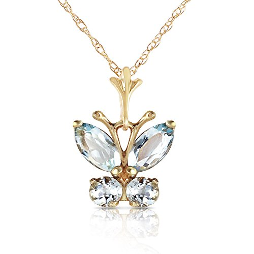 ALARRI 0.6 Carat 14K Solid Gold Butterfly Necklace Aquamarine with 22 Inch Chain Length by ALARRI