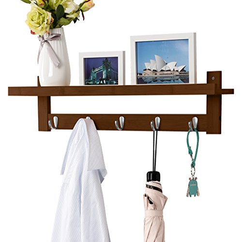 LANGRIA Coat Rack Shelf, Coat Rack Wall-Mounted Bamboo Wooden Hook Rack with 5 Metal Hooks and Upper Shelf for Storage Scandinavian Style for Hallway Bathroom Living Room Bedroom, Bamboo Brown Color (Coat Rack Brown)