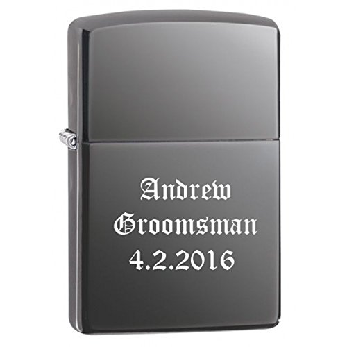 (Groomsman Gift Personalized Black Ice Zippo LIGHTER - Free Laser)
