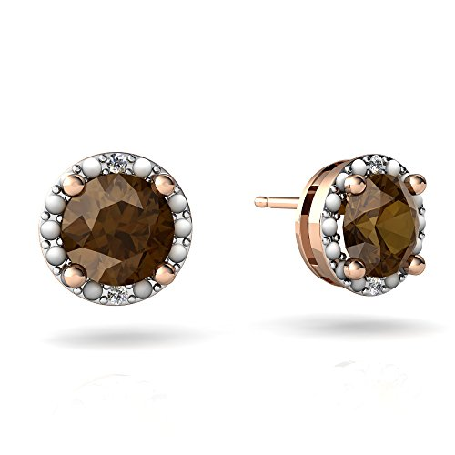 14kt Gold Smoky Quartz and Diamond 6mm Round Halo Illusion Earrings