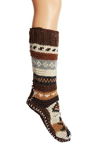Brown Hand Knit Wool Fleece Lined Long Tibetan Slipper Socks ()