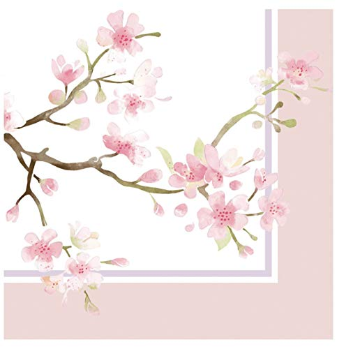 Cypress Home Cherry Blossoms Cocktail Beverage Paper Napkins, 40 ct ()