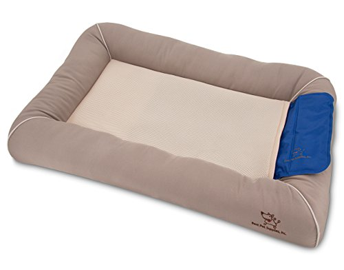 Cooling Pet Bed with Removable Self-cool Gel Mat for Dog / Cat - Taupe, Large (36 x 24 x 5)