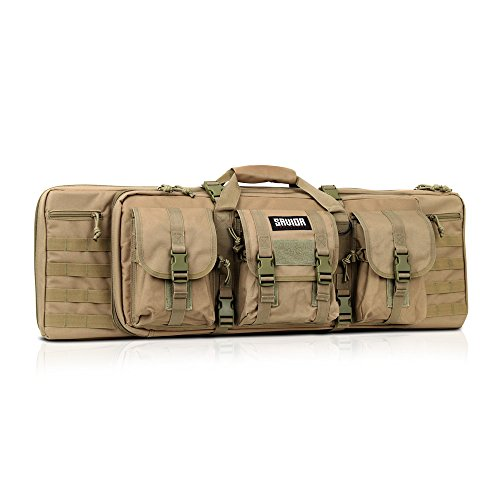 [Savior Equipment] Tactical Double Long Rifle Pistol Gun Bag Firearm Transportation Case w/ Backpack - Lockable Compartment, Available Length in 36' 42'
