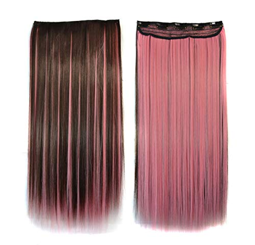Hillento 22-24 Inches Fashion Two Tone Long Straight Wig 3/4 Half Full Head 1 Piece 5 Clips in Hair Extensions Pieces Wig Girls, Dark Brown & Pink ()