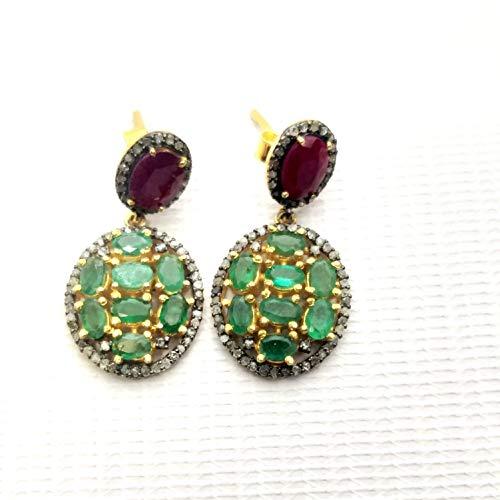 (Genuine 1.02Ct Diamond Pave Ruby Dangler Earring, Sterling Vermeil Drop Earring)