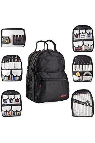 Tradesman Tool Storage Organizer Backpack: Heavy Duty Jobsite Bag with 50+ Pockets for Multiple Tools - Tool Box Backpacks for an Electrician, HVAC Contractor, Carpenter or Construction Work - Black by Tradesman Tool Storage (Image #9)