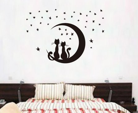 Amazon.com: Romántico Pareja Gatos en la luna pared vinilo ...