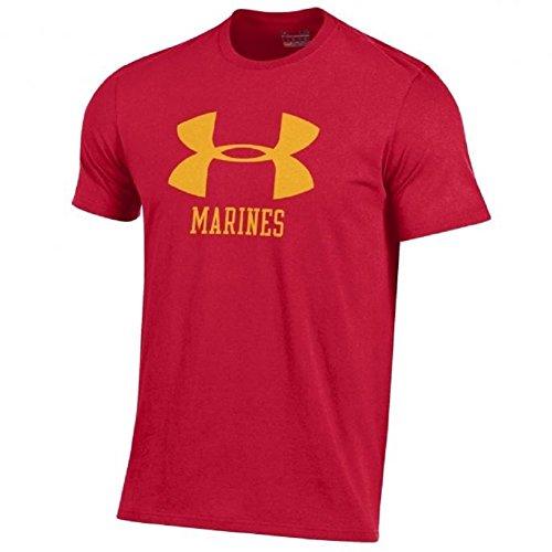 Under Armour Men's Big UA Logo-United States Marine Corps-Charged Cotton T-Shirt-Red w/Yellow UA Logo-XL