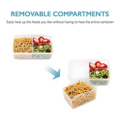Smart Portables Meal Prep Container (38 oz.); Bento Lunch Box; Leakproof Reusable Food Container; Portion Control; Configurable Compartments