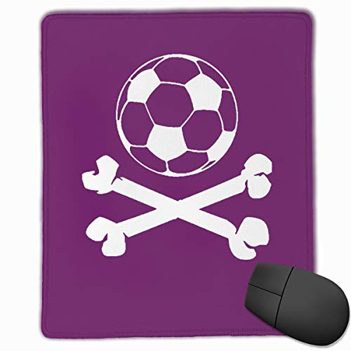 Soccer Ball Logo Pirate Skull Cross Bones Computer Mouse Pad, Non-Slip Rubber Base Mousepad with Stitched Edge, Mouse Pads for Office, Gaming, Computer, Laptop & Mac, Keyboard, 8.66 X 7 X 0.12inch