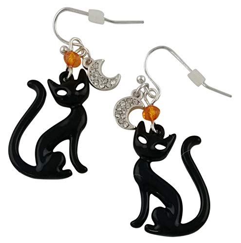 Fashion Jewelry Halloween Black Cat Drop Earrings - Silver Plated with a Crescent Moon Charm for Girls or Women for $<!--$14.47-->