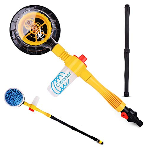 Funlove Car Wash Brush Kit with Long Handle Automatic Non-Electric 360 Degree Car Rotating Brush for Garden Sprinkling Car Washing or Home Cleaning (Best Home Car Wash Kit)