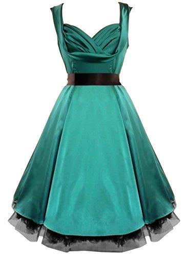 Damen Kleid 50s Satin Abend Cocktail Partykleid Jade Grün HdiET ...
