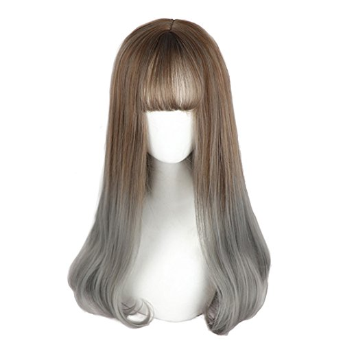 Cyy Halloween Party (Long Grey Ombre Wigs Bangs - Straight Lolita Wig 2 Tone Synthetic Hair For Women Cosplay, Daily and)