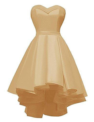 Hi-lo Sweetheart Homecoming Dresses Women's Strapless Lace up Satin Short Evening Bridal Dress (Impression Bridal Bridal Dress)