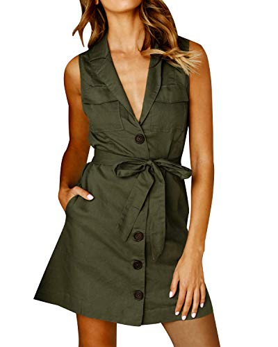 Auxo Women Sleeveless Deep V Neck Tie Short Tunic Cotton Summer Casual Button Dress Army Green ()