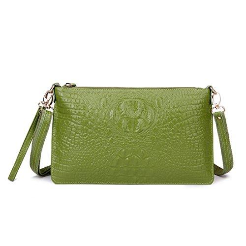 SEALINF Women's Genuine Leather Handbag Clutch Shoulder Bag Alligator Crossbody (Oversized Vintage Clutch)