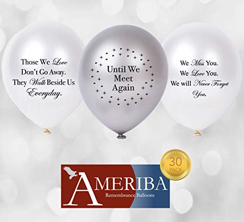 Biodegradable Remembrance Balloons: 30pc White & Silver Personalizable Funeral Balloons for Balloon Releases & Sympathy Gifts | Created/Sold by AMERIBA, a USA Company (Variety Pack, Black Writing)