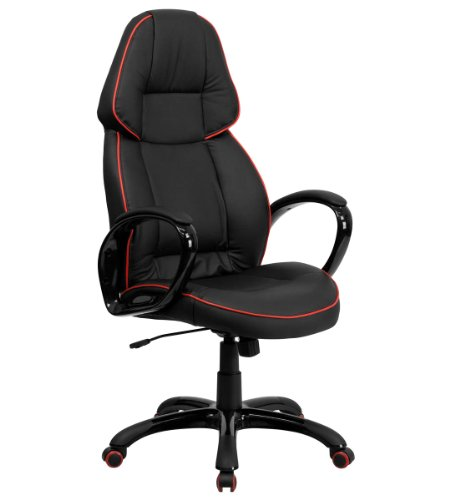High Back Black Vinyl Executive Office Chair with Red Pipeline Border - Executive Black Red Border
