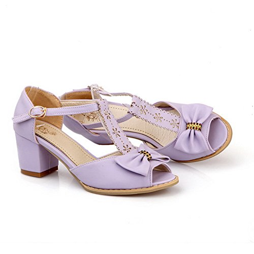 VogueZone009 Womens Open Toe Peep Toe Kitten Heels PU Soft Material Solid Sandals with Chunky Heels Purple p6Eg1v