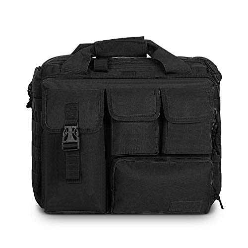 Men's Military Laptop Messenger Bag Multifunction Outdoor Tactical Briefcase Computer Shoulder Handbags for 14' Laptop (Black)