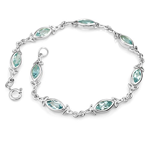 Chuvora 925 Sterling Silver Genuine Blue Topaz Celtic Trinity Knot Triquetra Triskelion Trikele Bracelet 8
