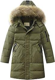 Alovelycloud Boy Coat Winter Kids Thick Warm Duck Down Jackets Long Hooded Fur Outerwear Kids Winter Jacket