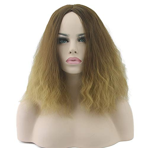 Kinky Curly Hair Wig Ombre Hair Wig Full Lace Cosplay Wigs Synthetic Hair Heat Resistant Women Hair Yellow ()