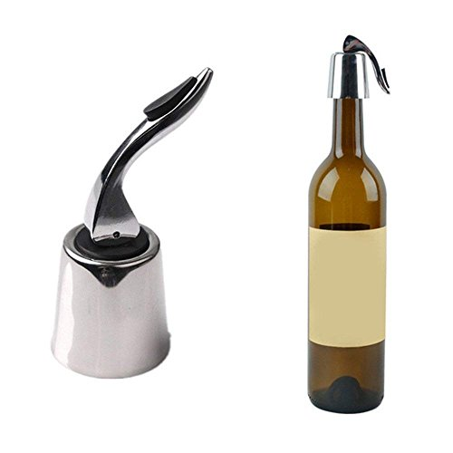 Wewin Stainless Steel Vacuum Sealed Red Wine Storage Bottle Stopper Sealer Saver Preserver Champagne Closures Lids Caps Home Bar Tool ()
