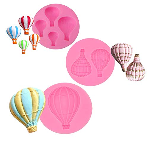 Palksky Cake decoration fondant mold set- Hot Air Balloon Design for chocolate candy baking Pastry Cookie Sugar Craft (Set of 3) -