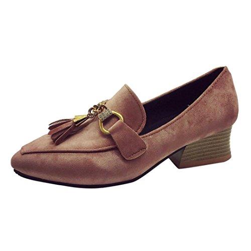 Elevin (tm) 2018women Spring Flock Comfort Pantofole Casa, Antiscivolo Scarpe Mocassino Interno / Esterno Alla Caviglia Rosa
