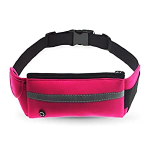 Refoss Running Waist Pack, Water Resistant Fanny Pack, Expandable Sport Belt with Water Bottle Holder, Great for Biking, Hiking, Travel and Outdoor Activities (Rose)