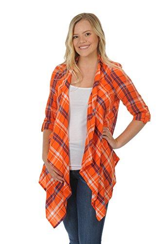 NCAA Clemson Tigers Adult Women Plaid Cardigan, Medium, Orange/Purple