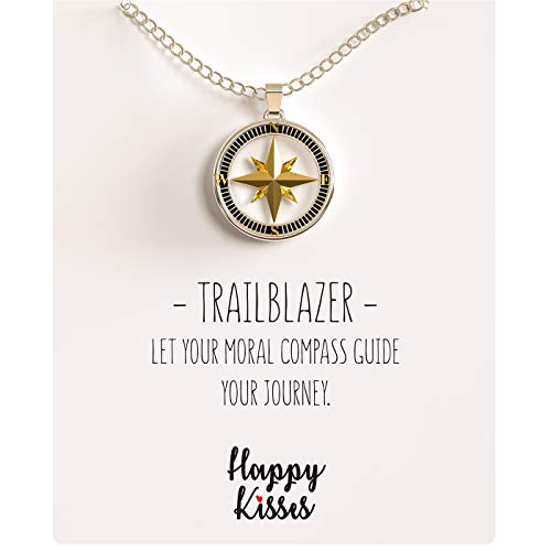 - Happy Kisses Compass Necklace Nautical Pendant Gold & Silver Trailblazer Gift for Woman