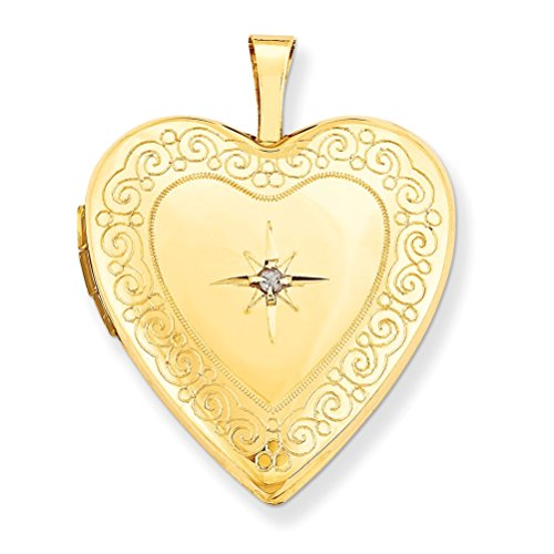 14k Yellow Gold Heart Locket with Diamond Accent (.01 Ct, GI Color, SI Clarity) by The Men's Jewelry Store (for HER)