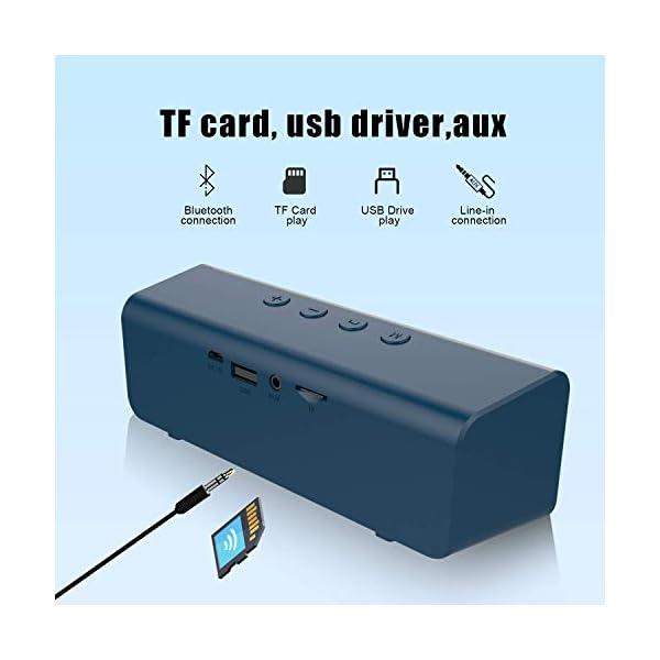Enceinte Bluetooth, Mini Haut-Parleur Bluetooth Enceinte Portable 5.0 sans Fil, 10 Heures Autonomie Stéréo HD, Mains Libres Téléphone, Support AUX&TF, Gris Bleu 3