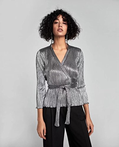 LINNUO Moda Camicia Avvolgente Camicia Casual Maniche Lunghe Blouse Blusa Camicetta Shirt Top