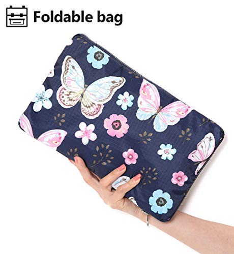 Foldable Travel Duffle Bag for Women Girls Large Cute Floral Weekender Overnight Carry On Bag for Kids Checked Luggage Bag (Z-Butterfly)