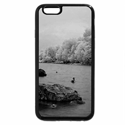 iPhone 6S Plus Case, iPhone 6 Plus Case (Black & White) - Winter Lake View