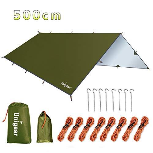 Lightweight Waterproof Rain Tarpaulin| Hiking Picnic Planet Gear Camping Tent Tarp Shelter 3m x 3m 8 Ropes Backpacking Hammock 6 Aluminium Ultralight Pegs