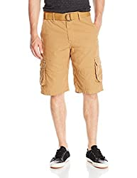 Southpole Men's Belted Mini Canvas Cargo Shorts, Wheat, 29