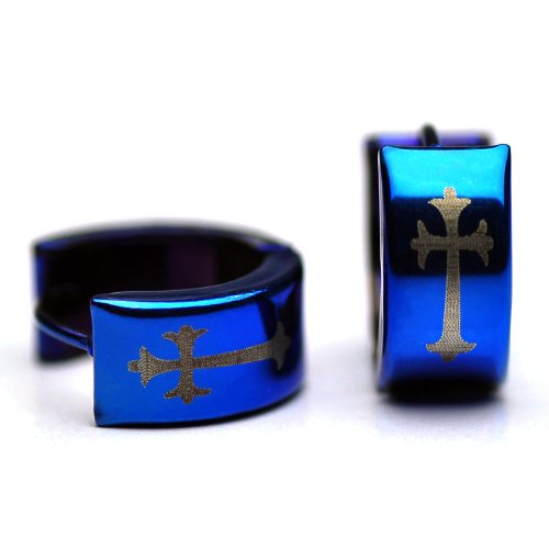 Sirius Jewelry Men Blue Stainless Steel Cross Huggie Hoop Earrings with Gift Box (Budded cross)