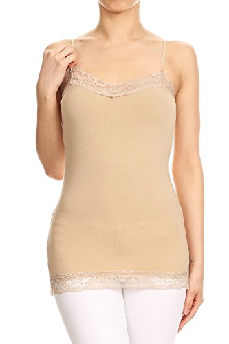 RouA 209S-4 Basic Long Tank with Lace Trim Top B,W,Kh,Pk (2x) by RouA (Image #3)