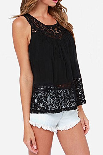 La Mujer Sin Mangas Blusa Camisa Verano Back Slit Lace Top Plus Size Black