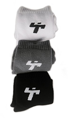 Thwack Full Cushion High Ankle Socks for Men and Women  White, Black and Lead   3 Pairs